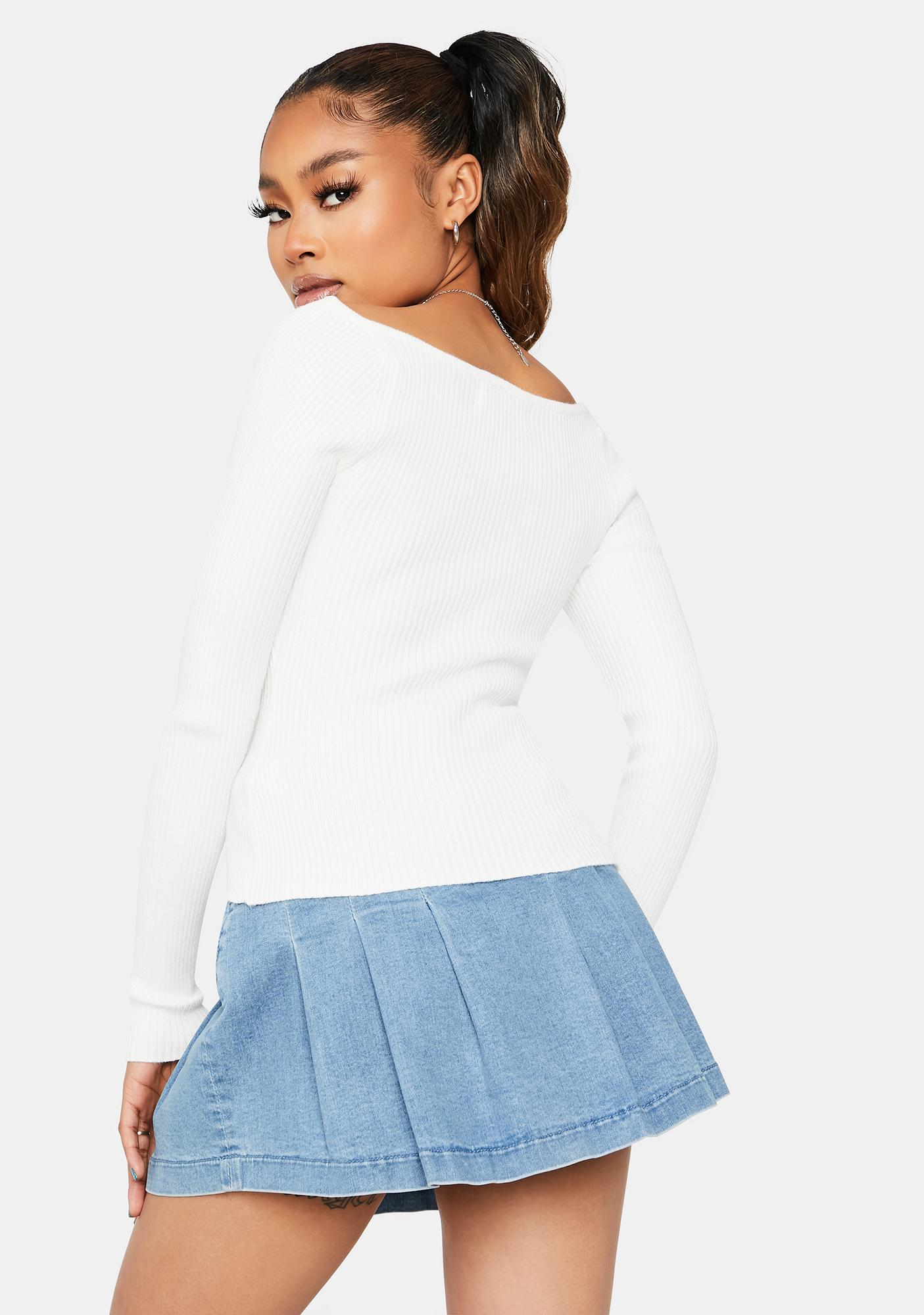 Too Soon To Tell Ribbed Sweetheart Top