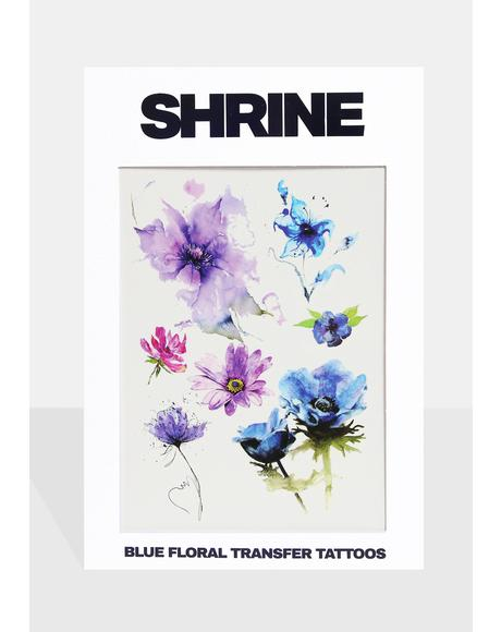 Blue Floral Transfer Tattoos