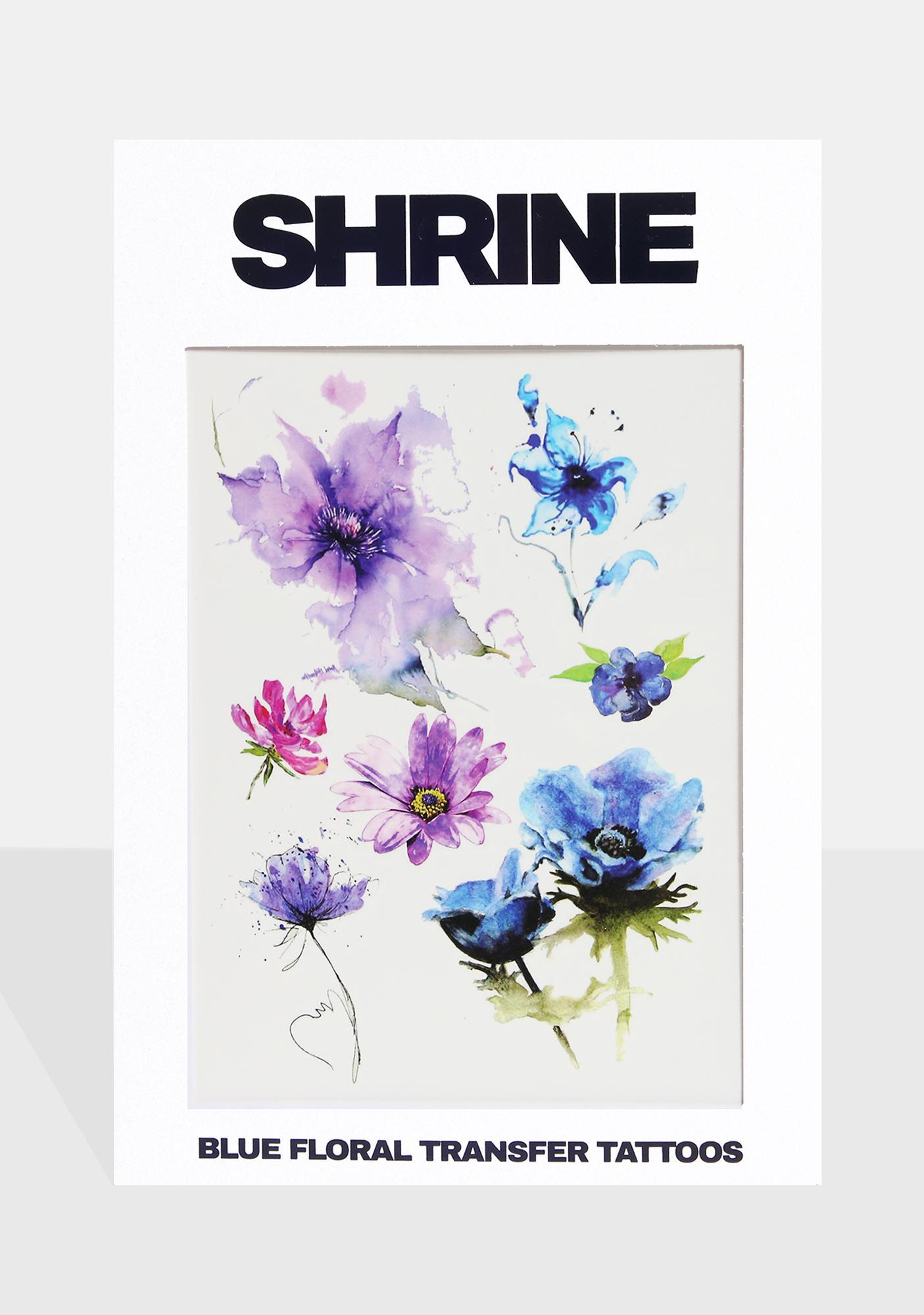 SHRINE Blue Floral Transfer Tattoos