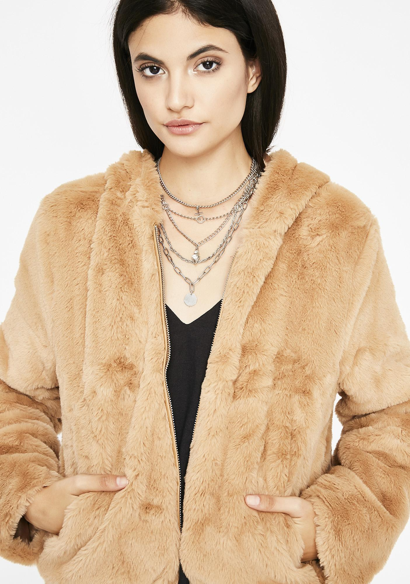 Camel Feel Me Up Fuzzy Jacket by Settle Down