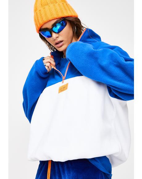 White And Blue Fleece Sweatshirt