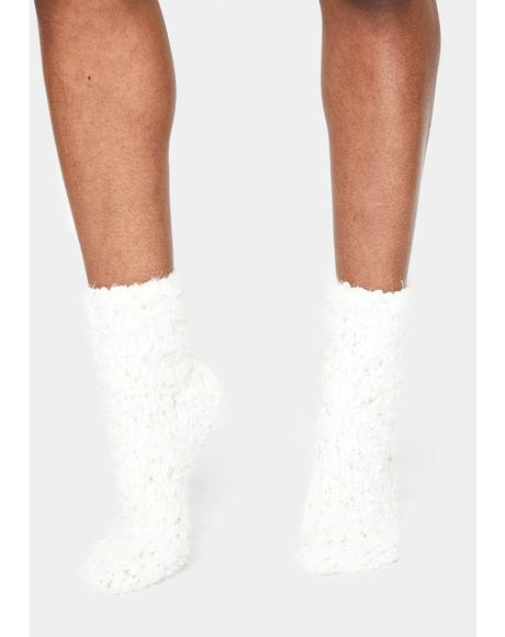 Ivory Cozy Metallic Twist Crew Socks