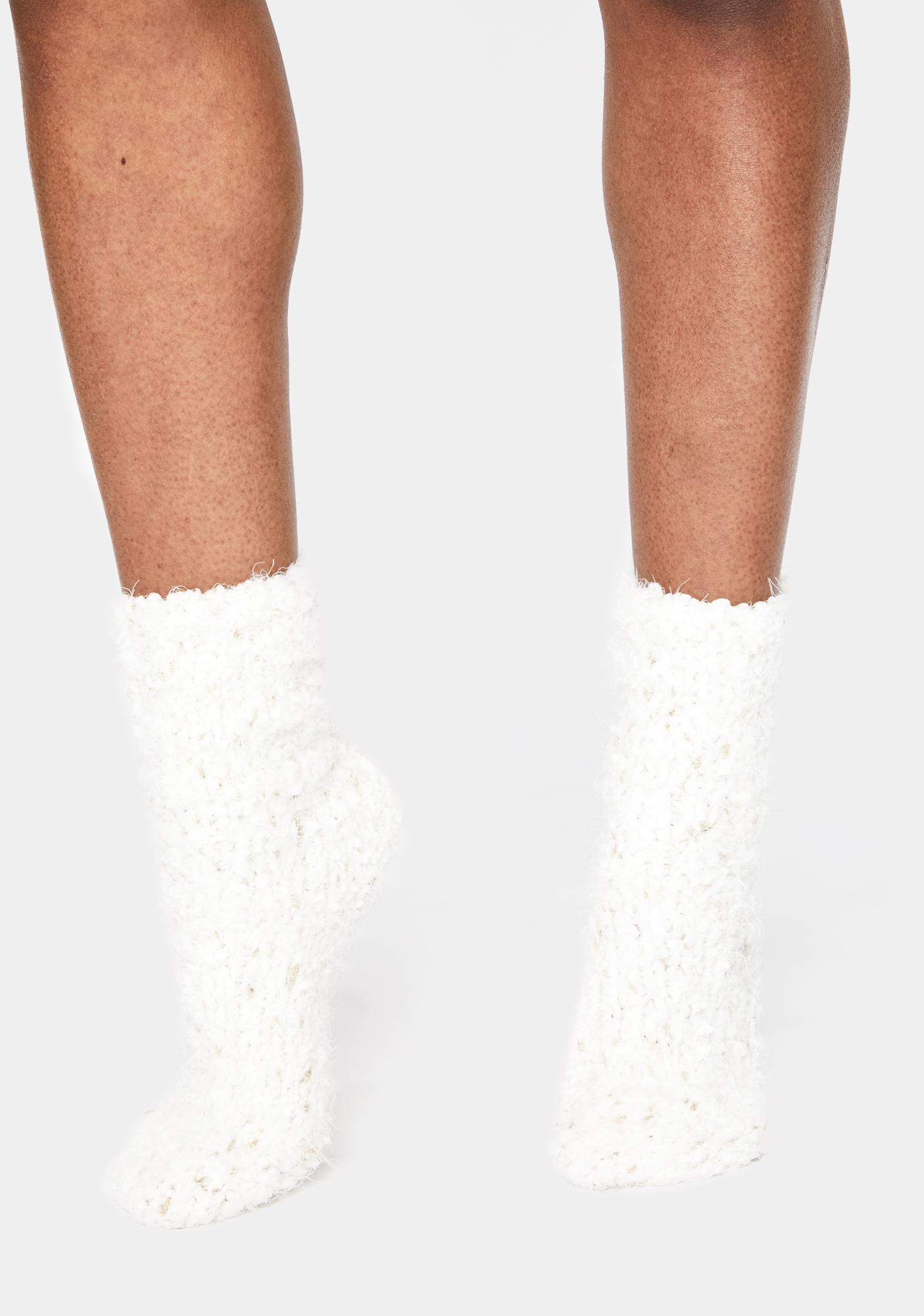 MeMoi Ivory Cozy Metallic Twist Crew Socks