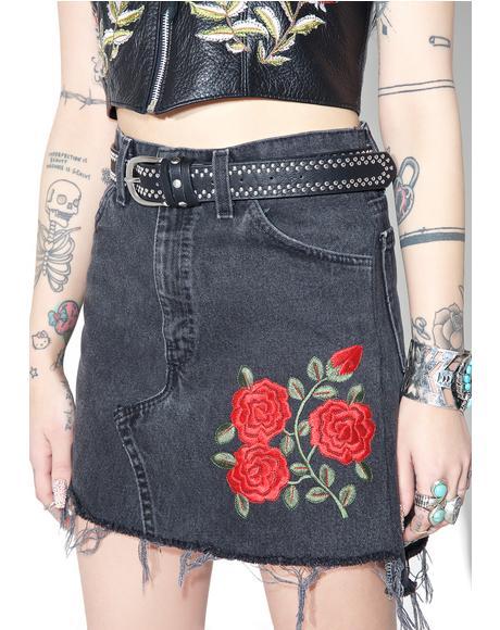 Reworked Levi's Denim Rose Skirt