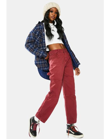 Burgundy Relaxed Cargo Pants