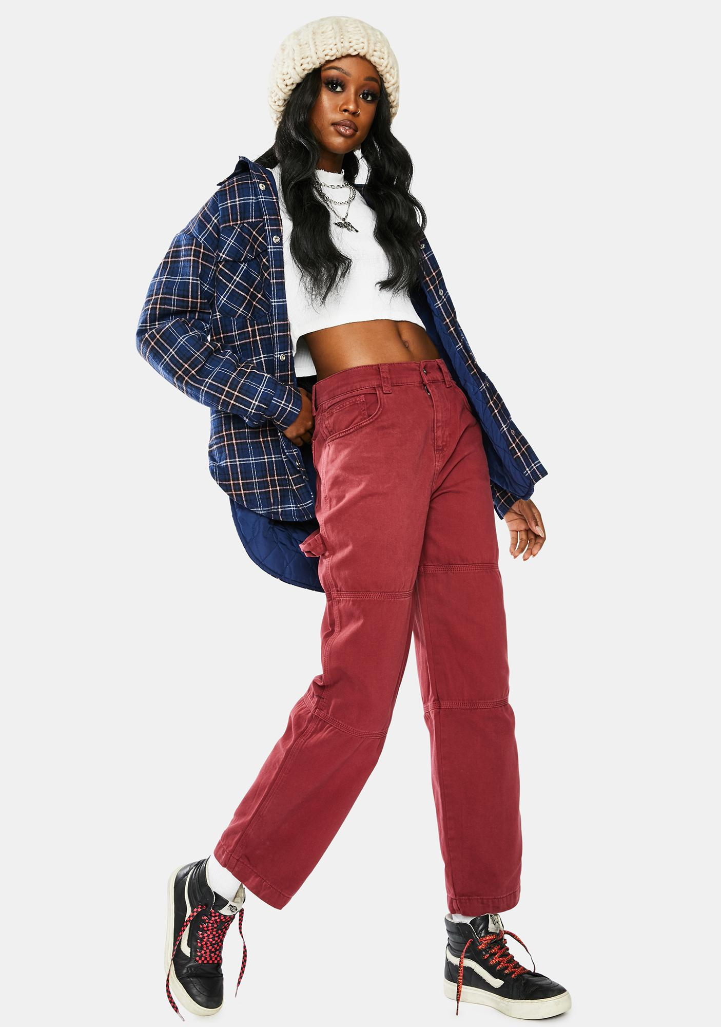 Kickers Burgundy Relaxed Cargo Pants
