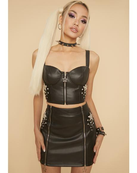 Blissful Baddie Faux Leather Mini Skirt