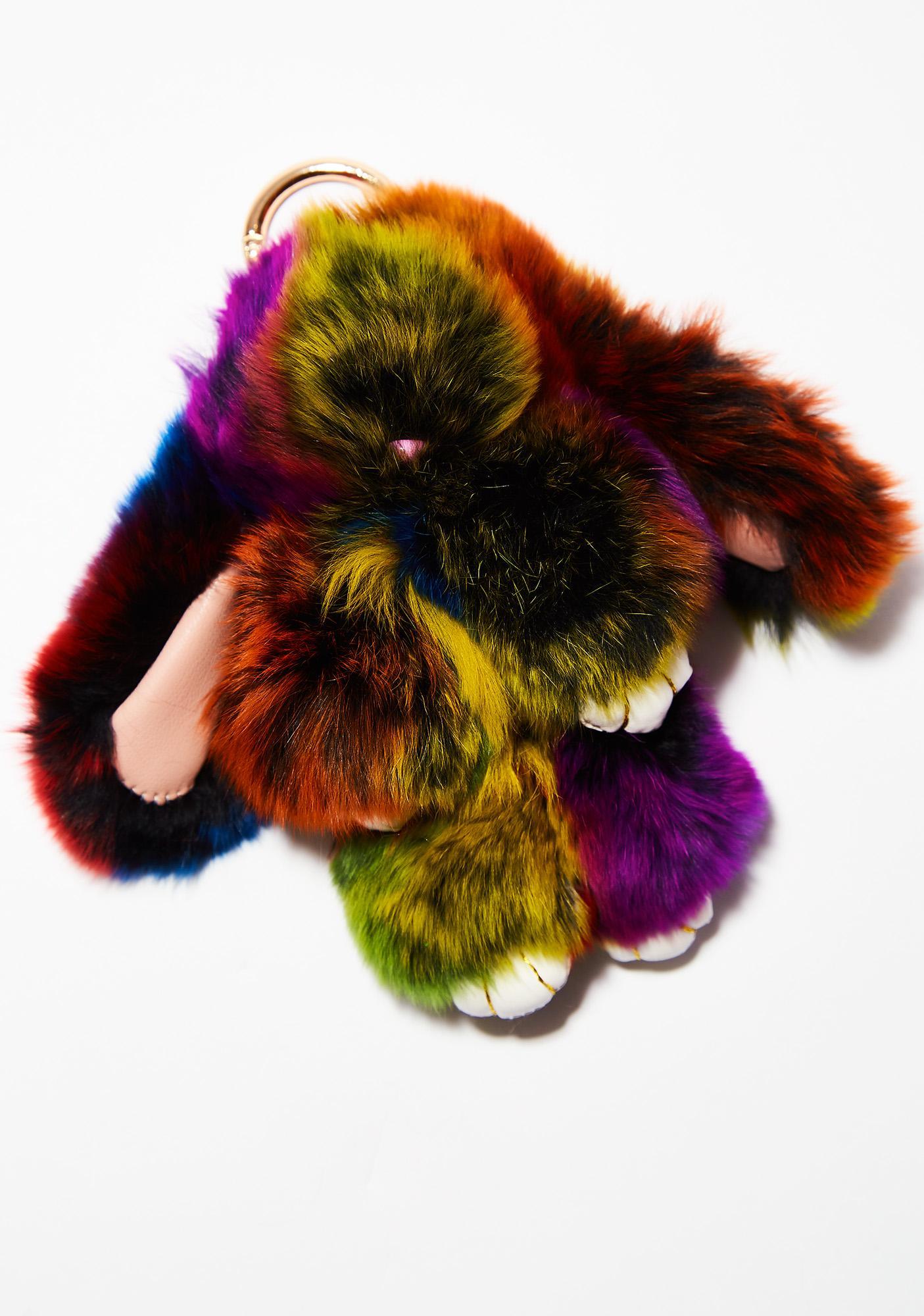 Rainbow Bunny Keychain