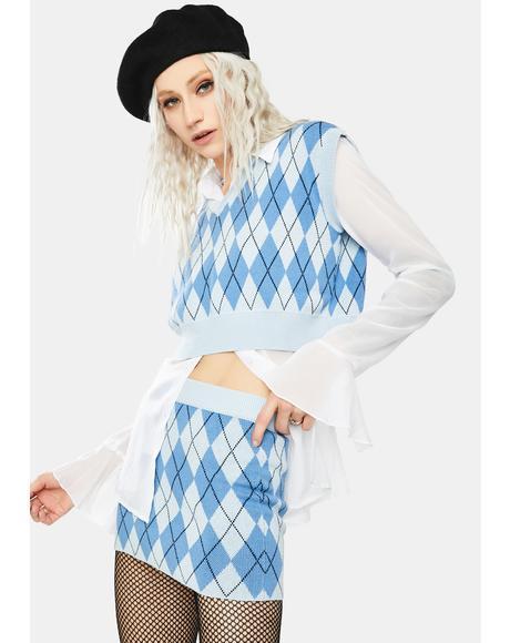 Blue Argyle Mini Skirt