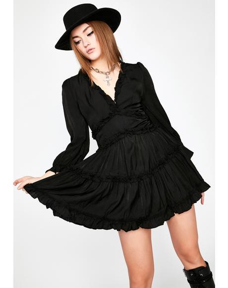 Midnight Runaway Roadie Ruffle Dress