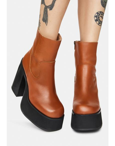 Cognac Siene Leather Boots