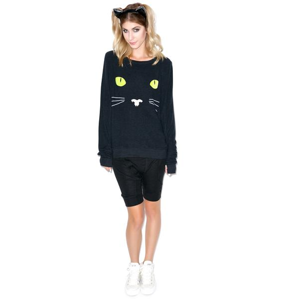 Wildfox Couture Black Cat Baggy Beach Jumper