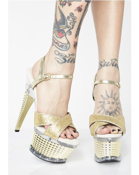 Power N Gold Platform Heels