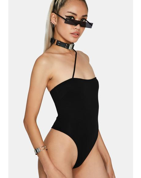 Noir Wait A Minute Cross Strap Bodysuit