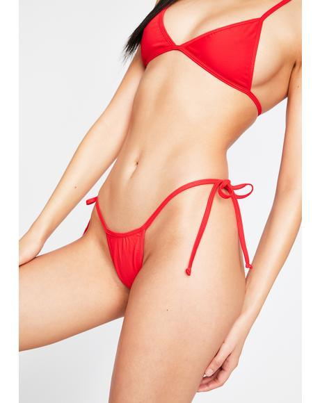 Red Tyra Bikini Bottoms