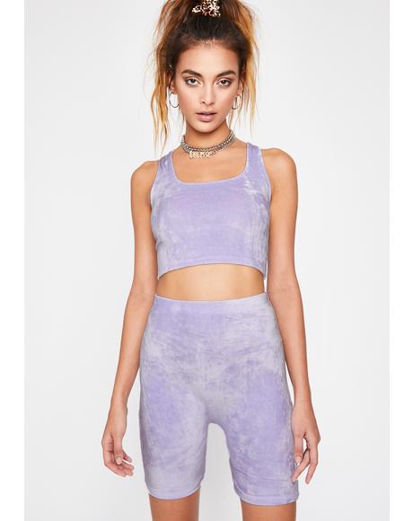 Lilac Yas Qween Biker Shorts