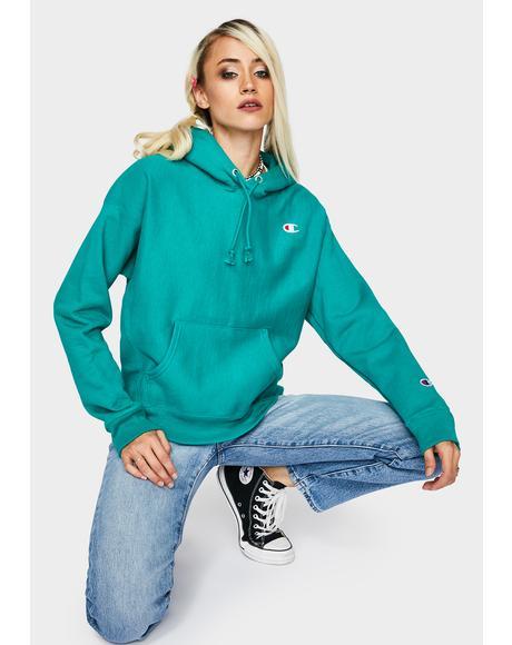 Green Reverse Weave Pullover Hoodie