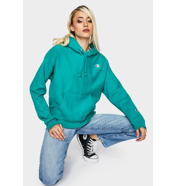 Champion Green Reverse Weave Pullover Hoodie