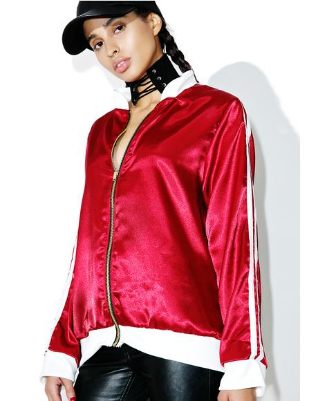 Maroon Silk Kitten Bomber Jacket