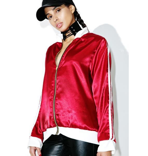 O Mighty Maroon Silk Kitten Bomber Jacket