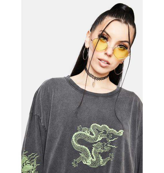 NEW GIRL ORDER Triple Dragon Long Sleeve Tee