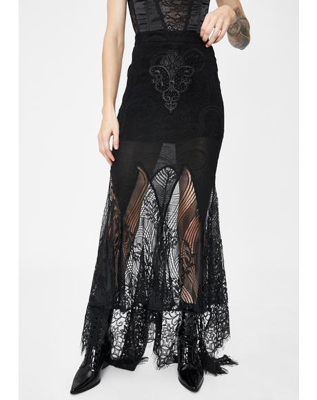 Lace Swallow Tail Maxi Skirt