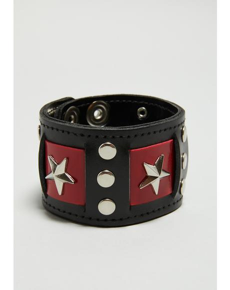 Red And Black Star Cuff Bracelet