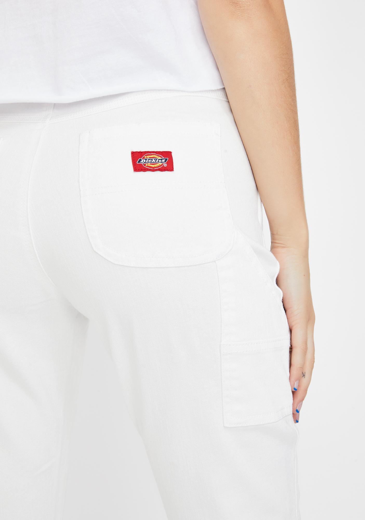 Dickies Girl White Slim Carpenter Pants