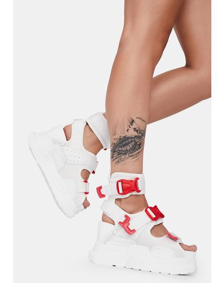 Red And White Mulberry Platform Sandals