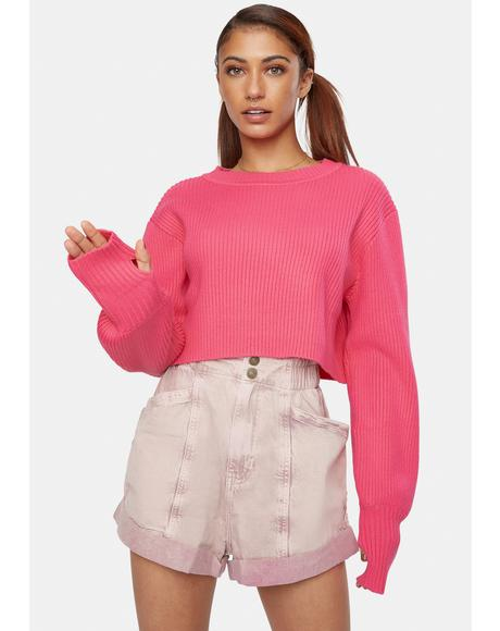Candy Pink Crop Sweater