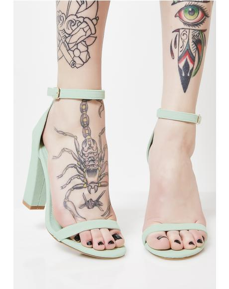 Mint On The Catwalk Strap Heels