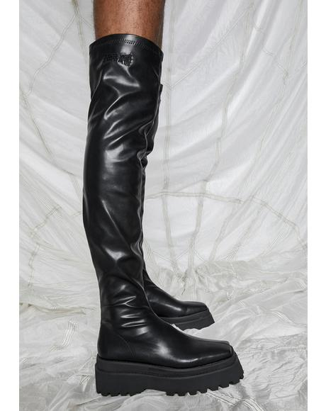 Synth Vegan Stretch Leather Over The Knee Boots