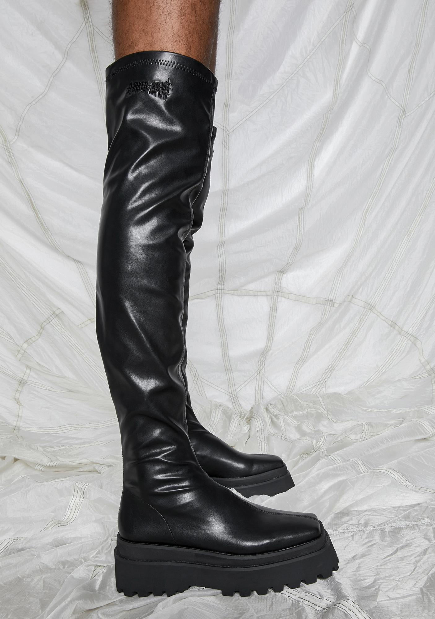 DARKER WAVS Synth Vegan Stretch Leather Over The Knee Boots