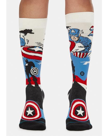 Captain America Marquee Crew Socks