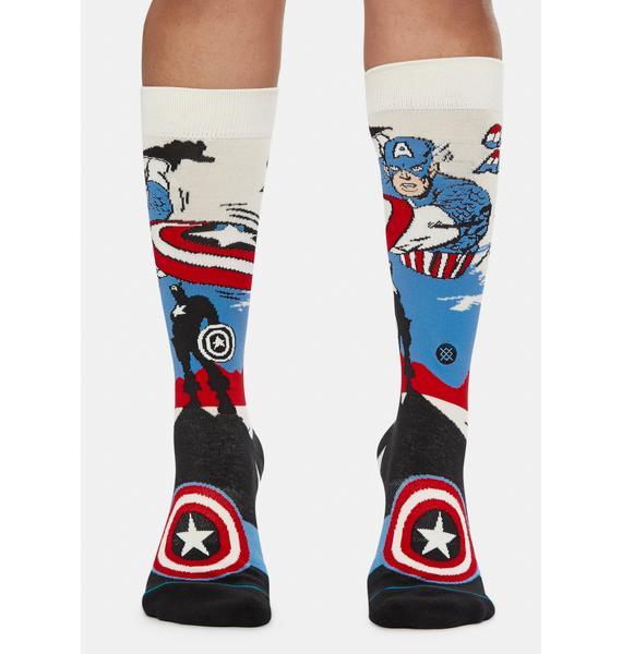 Stance Captain America Marquee Crew Socks