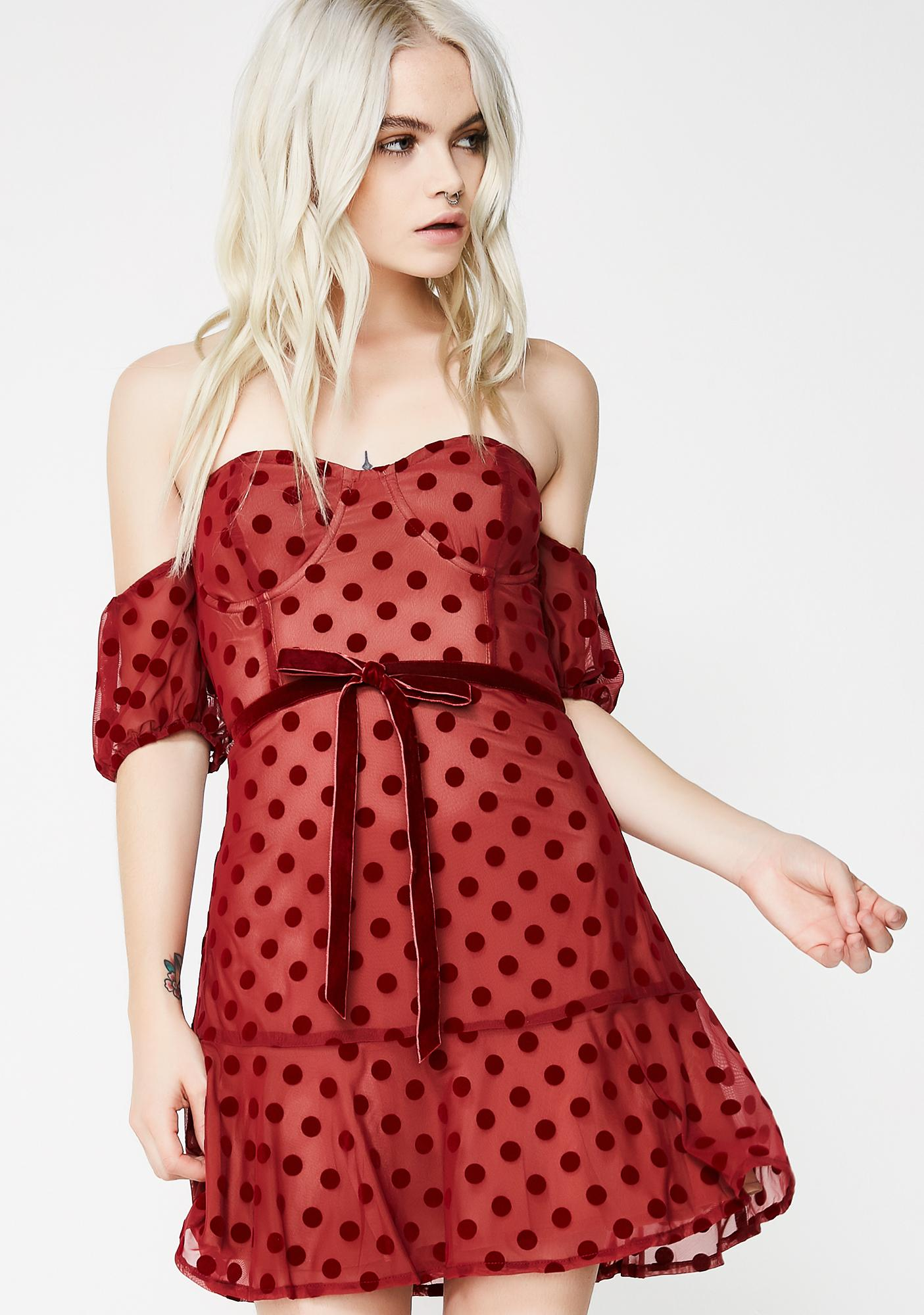 For Love & Lemons Dotty Strapless Dress