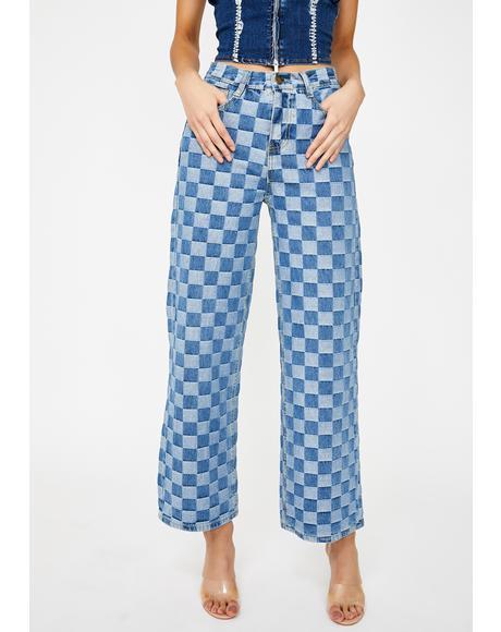 Denim Checkerboard Wide Leg Jeans
