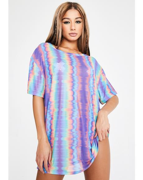 Hypnotic Mist Mesh Tee Dress