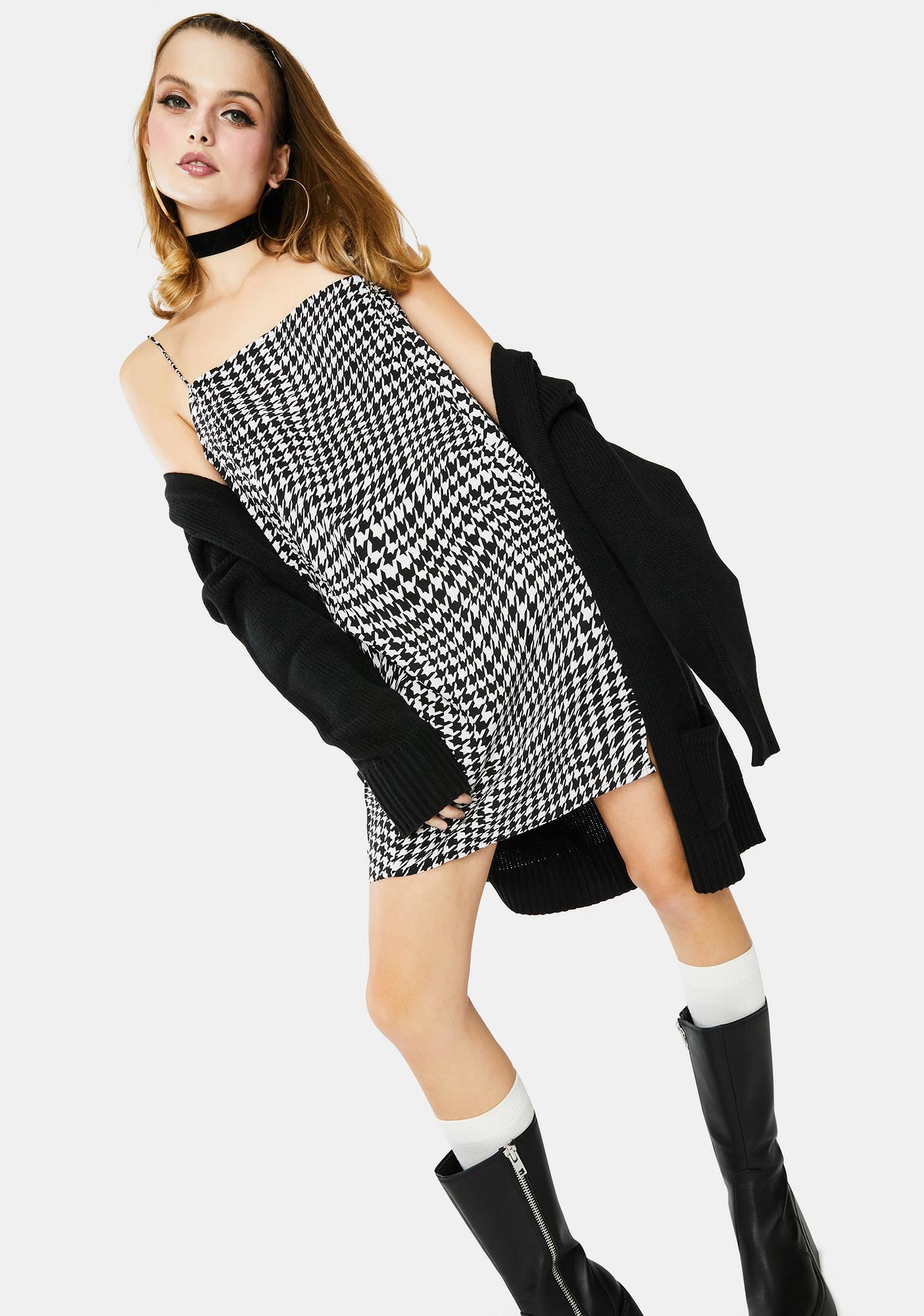 Motel Wavey Dogtooth Datista Slip Dress