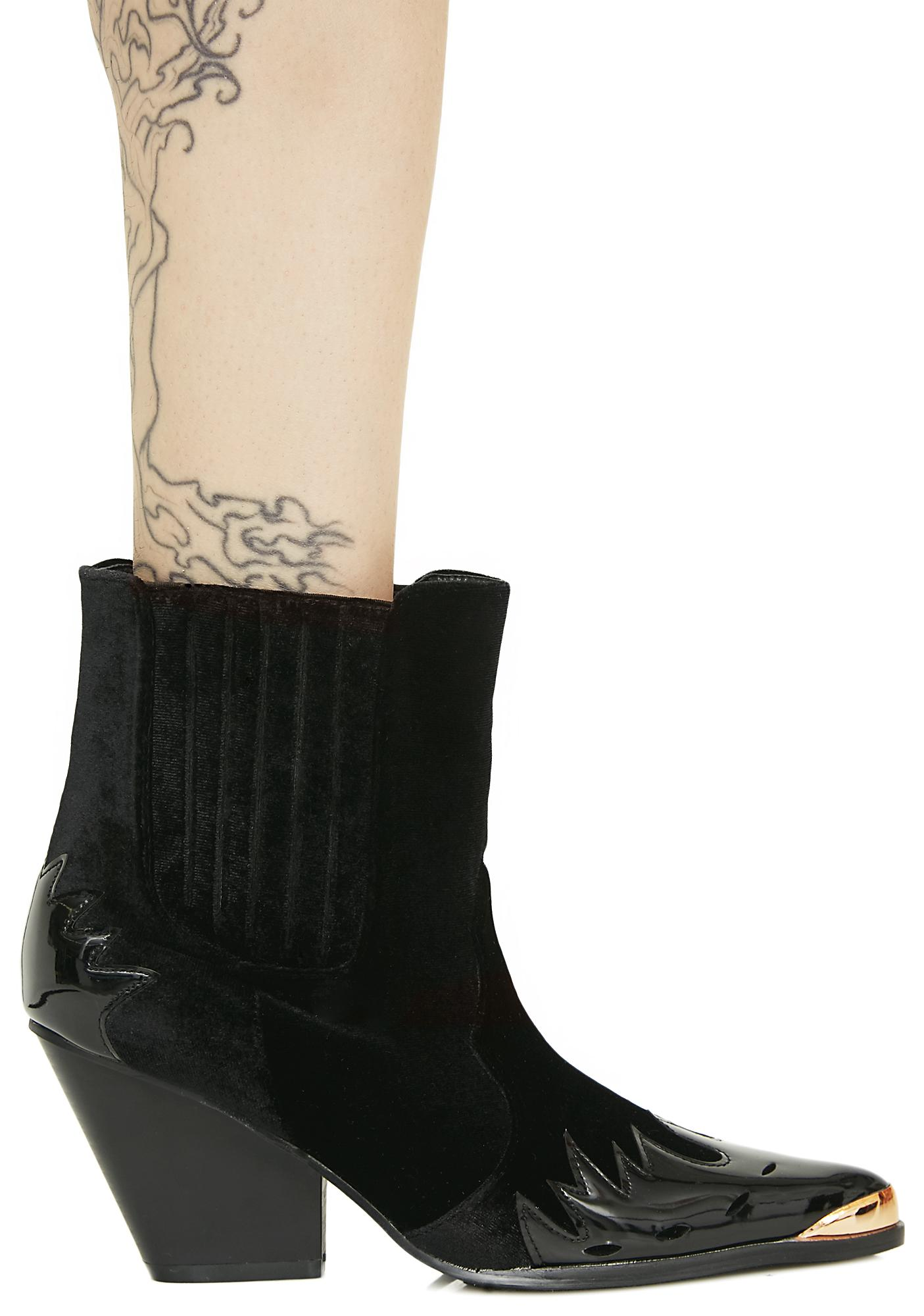 Midnight Lone Star Velvet Booties
