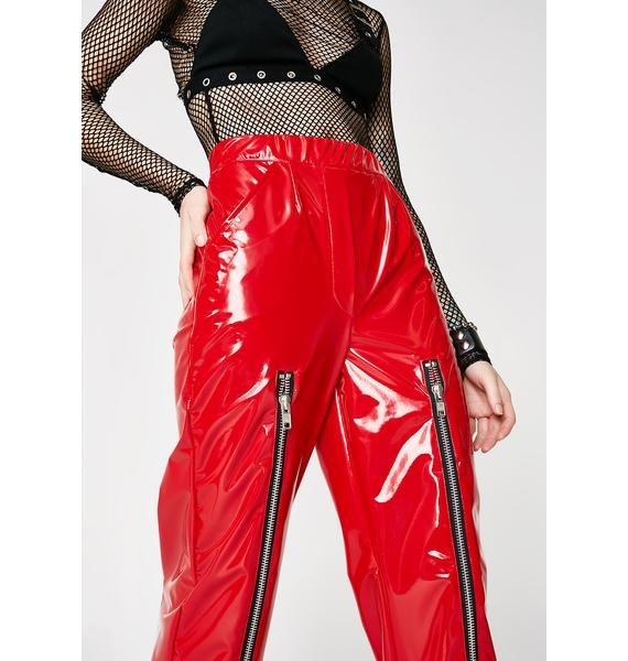 Whatever 21 Vinyl Zipper Pants