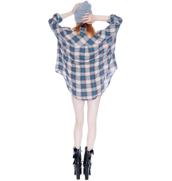 UNIF Bare Shoulders Blue Button Up Shirt
