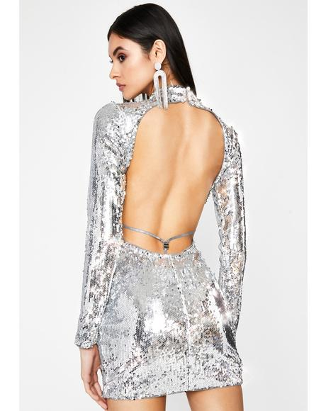 Mercury Hologram Star Sequin Dress