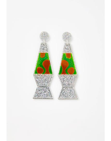 Holographic Glitter Lava Lamp Earrings