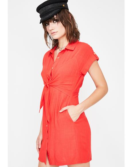 Crimson On A Sundaze Shirt Dress