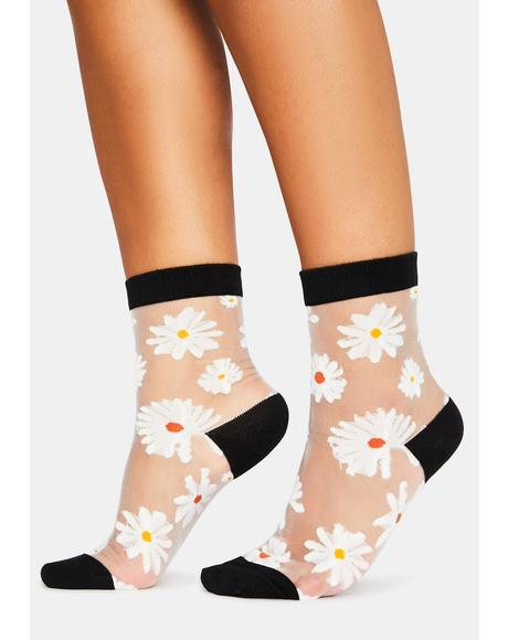Noir Petal Parade Sheer Ankle Socks