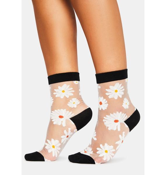 Noir Petal Parade Sheer Ankle Socks