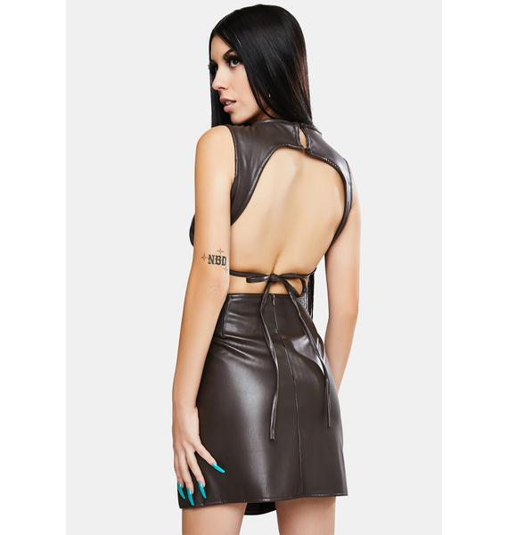Motel Faux Leather Dark Chocolate Tasve Top