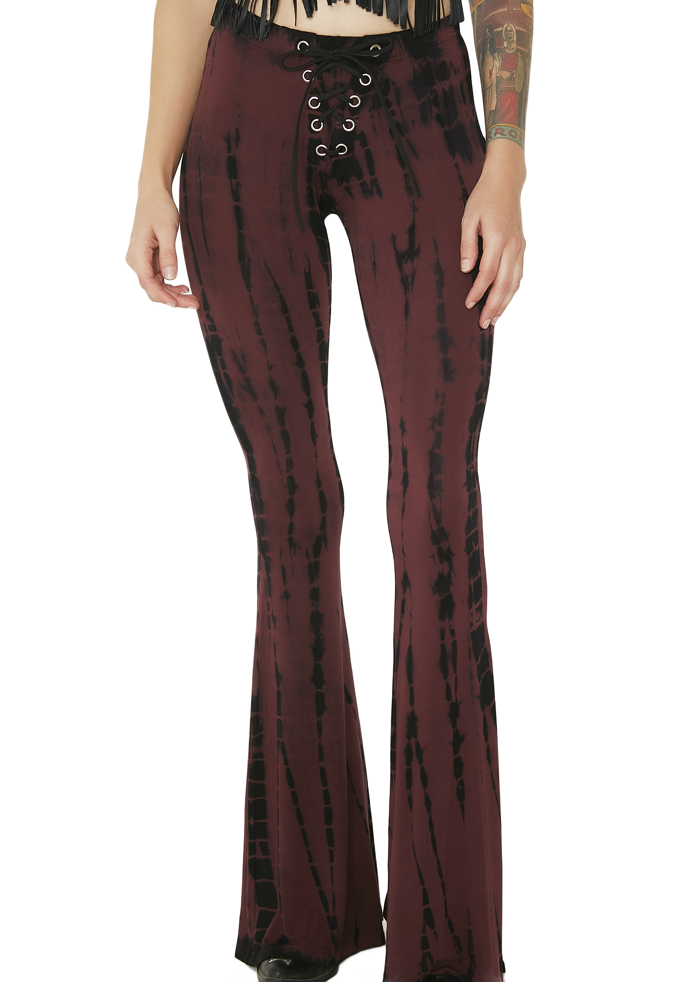Current Mood Lace-Up Tie-Dye Bell Bottoms Burgundy