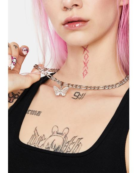 Died Lit Butterfly Chain Necklace